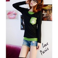 Black Long Sleeve Scoop Women Autumn Cotton T-shirt S/M/L @WH0357b $8.99 only in eFexcity.com.