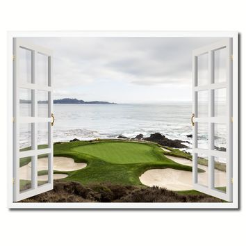 Pebble Beach California Golf Course Picture French Window Framed Canvas Print Home Decor Wall Art Collection