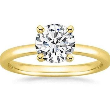 1/2 Carat Gia Certified Diamond Engagement Ring 0.44 Ct VS2 I 4 Prong 14K Yellow Gold by Luxinelle® Jewelry