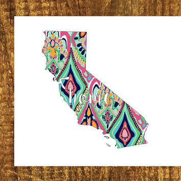 LILLY PULITZER California Home Decal | California State Decal | Homestate Decals | Love Sticker | Love Decal  | Car Decal | Car Sticker |097