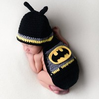 Batman Baby Superhero Hat Outfit Knit Newborn Prop - CCC201
