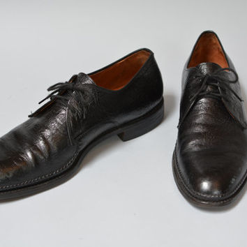 Vintage 60s Dack's Oxford Shoes -  Retro Black Men's Water Bison Skin Shoes Size 11