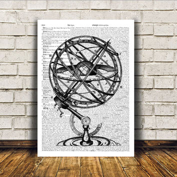 Antique art Armillary poster Vintage print Wall decor RTA83