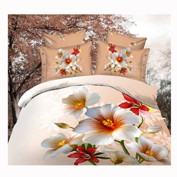 3D Queen King Size Bed Quilt/Duvet Sheet Cover Cotton reactive printing 4pcs 1.5M bed 50