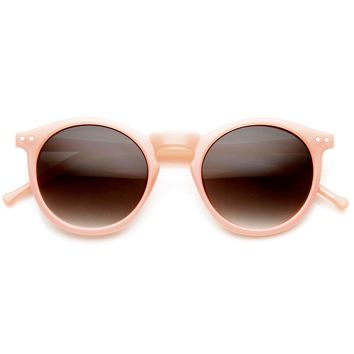 Pastel Color Classic P3 Frame Keyhole Round Horn Rimmed Sunglasses