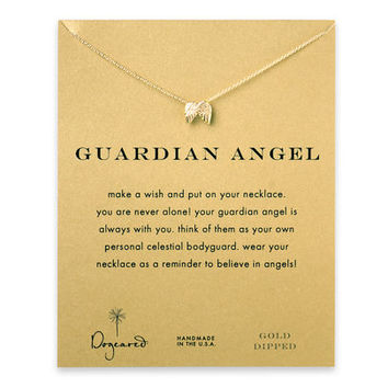 guardian angel, angel wings necklace, gold dipped