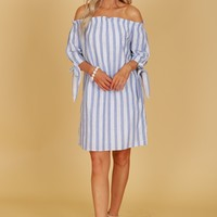 Tie Sleeve Off The Shoulder Striped Dress Blue
