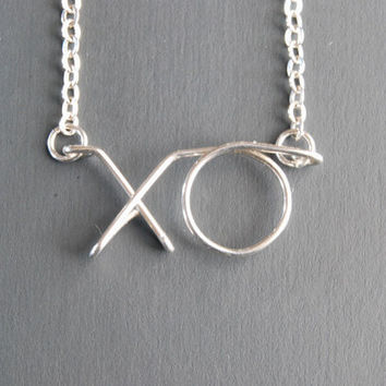 XO Necklace. Hug and Kiss Necklace.