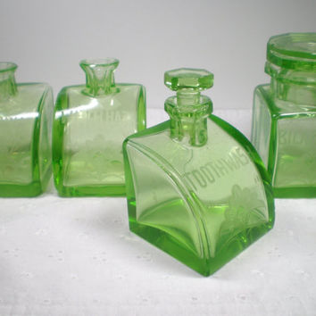 Set of 4 Apothecary Jars / Green depression glass jars labeled Toothwash WitchHazel BicarbSoda and Ammonia / unique / Art Deco