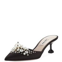 Miu Miu Pearly Beaded Satin Mule Pump