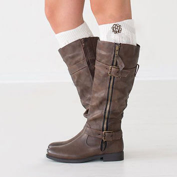 Monogrammed Ivory Boot Cuffs  Font Shown INTERLOCKING in Brown
