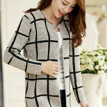 Grey Plaid Print Long Sleeve Cardigan