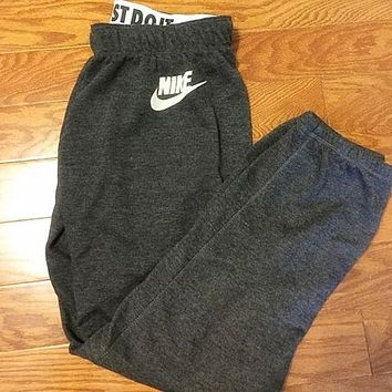 "Women Autumn Winter Fashion ""NIKE"" Print Thick Sport Stretch Pants Trousers Sweatpants Gym Jogging Exercise Casual Sportswear Grey F"