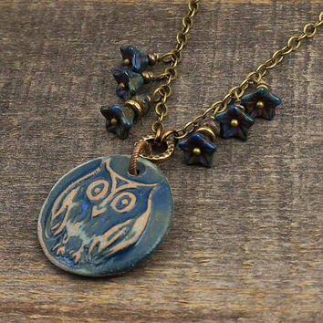 Owl necklace with blue flowers, antiqued brass chain, Czech glass, handmade jewelry 20 1/2 inches