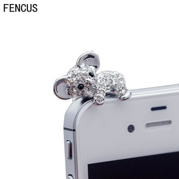 Crystal Koala Hot Sales Cute 3.5mm Dust Plug Headphones For Iphone 6 5s For Samsung S7 For xiaomi Universal Push-button phones