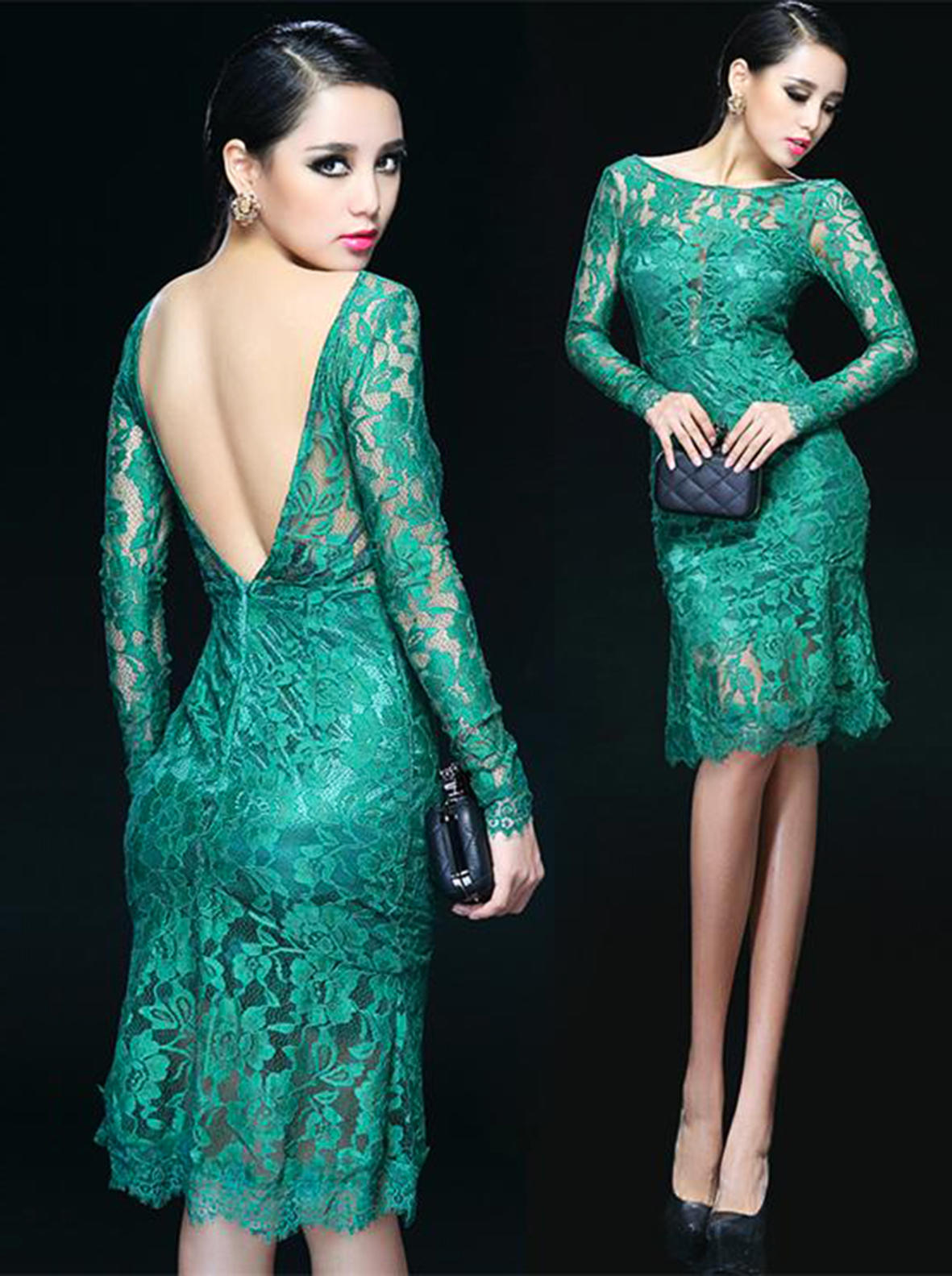 Emerald Green Backless Lace Cocktail from letsglamup'sbooth | My