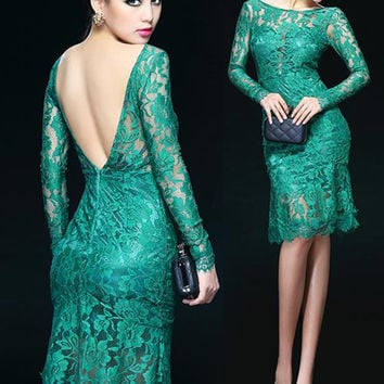 12393e11d8e Emerald Green Backless Lace Cocktail Dress. Green Lace Sheath Dress