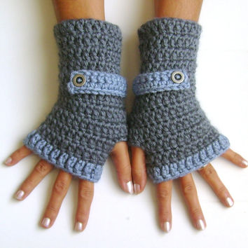 Fingerless gloves grey blue gloves cozy gloves free shipping armwarmers mittens Unisex christmas gift