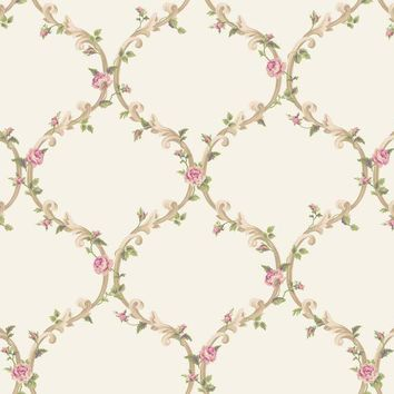 York CT0849 Callaway Cottage Elegant Rose Trellis Wallpaper