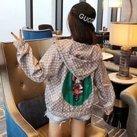 """Gucci"" Women Fashion Dog Head Logo Print Long Sleeve Zip Cardigan Hooded Coat Casual Sun Protection Clothing"