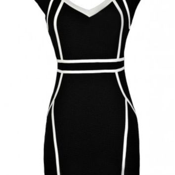 Lily Boutique Black and White Pencil Dress, Cute Pencil Dress, Black and White Fabric Piping Pencil Dress, Black and White Cutout Pencil Dress, Black and White Cocktail Dress, Black and White Party Dress Lily Boutique