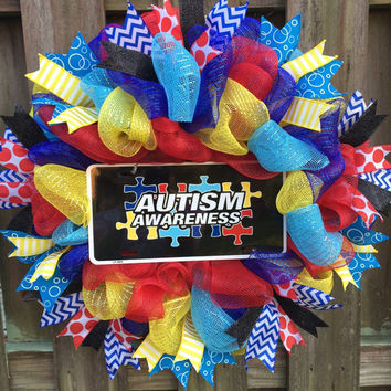 Autism Awareness Wreath, Autism Awareness, Autism Support,Autism Wreath, Autism Gift,Autism Family,Autism Parents