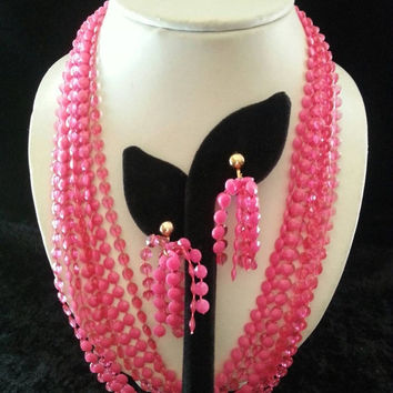 Big Sale Vintage Pink Lucite Multi Strand Demi Parure 1960's Flapper Length Long Necklace Earring Set Mad Men Mod Retro Chunky Wide Black Ti