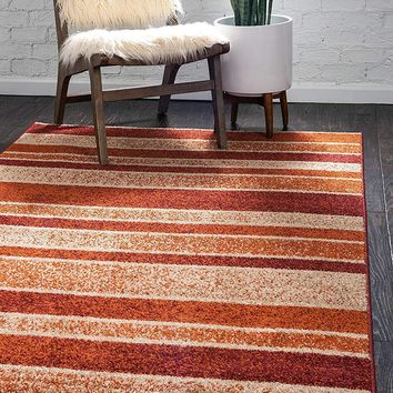 9932 Rust Red Modern Contemporary Area Rugs