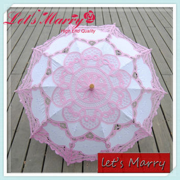 Vintage Pink and White Flower Lace Embroidery Umbrella Cotton Battenburg Wedding Bridal Umbrella Parasol Umbrella Decoration