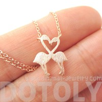 Kissing Flamingos Animal Heart Shaped Silhouette Charm Necklace in Rose Gold   DOTOLY