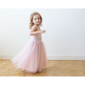 Blush pink ballerina tulle flower girl dress 5001
