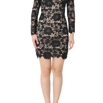 ARIANNE Embroidery Lace Long Sleeve Dress In Black