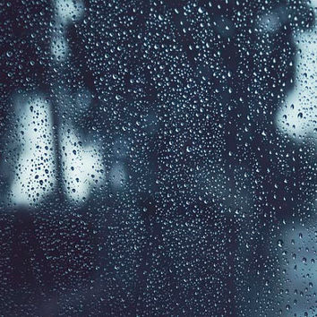 Rain Storm, Winter Decor, Rain Drops, Abstract, Fine Art Photography, Grey, Teal, Dark Decor, 8x10 Storm Photograph
