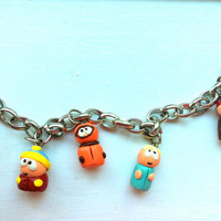 South Park Character Charm Bracelet (Kenny, Kyle, Stan, Cartman, Butters) (Hand-Sculpted)