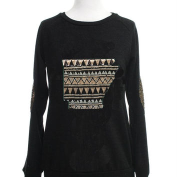 Arkansas Sequin Sweater With Elbow Patches