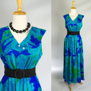 Vintage 1960s HAWAIIAN Maxi Dress L Never Worn SPRING SALE!
