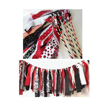 Pirate Birthday Party Package, 1 Fabric Garland with 12 Bell Wands, Red Black & White Decor Set, Wedding or Event Backdrop and Favors