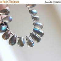 Super SALE Labradorite Gemstone Briolette Grey Smooth Teardrop Drilled 13 to 14mm 9 beads