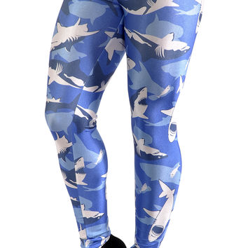 BadAssLeggings Women's Shark Attack Leggings Medium Blue