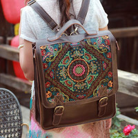 Women's Large Laptop Genuine Leather Embroidery Backpack Travel Bag