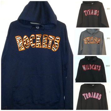 Womens Personalized Hoodie. Girls Personalized Hoodie. High School Mascot Shirt. Team Sport. Teacher Gift. Student Shirt. Design Your Own