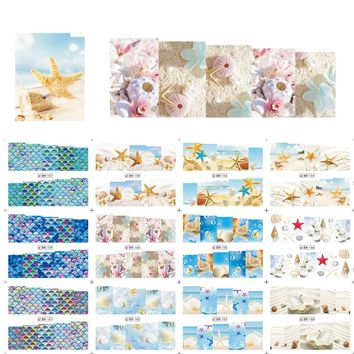 12pcs/set Water Transfer Sticker DIY Nail Art Summer Sea Animal Shell/Conch/Starfish Decals Manicure Tools JIBN157-168