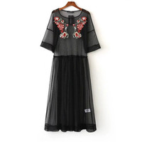 Embroidery Perspective Net Yarn Black  Maxi Dress