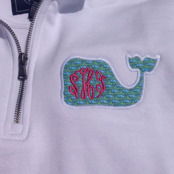 Vineyard Vines whale monogram 1/4 zip