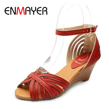 ENMAYER Ankle-Wrap Open Toe Women Sandals New Hot Wedges Casual High Buckle Cover Heel Platform Sandals White Orange Girl Shoes