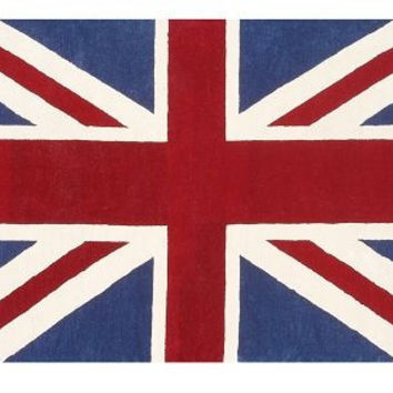 Union Jack Flag Rug in Navy and Red
