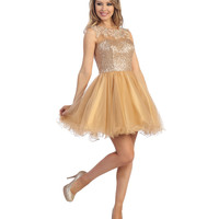 (PRE-ORDER) 2014 Prom Dresses - Gold Sequin & Tulle Cap Sleeve Dress
