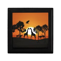 Giraffe at sunset jewelry box