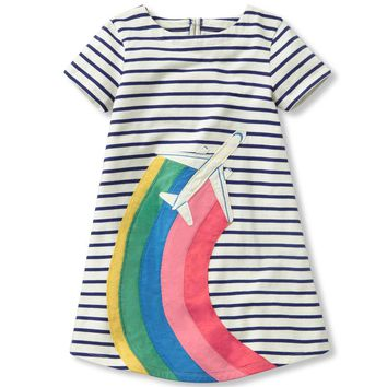 2-7Y Fashion Rainbow Striped Girls Dress Toddler Kid Girls Long Sleeve Dress Casual Cotton Dress Winter Clothes Children Costume
