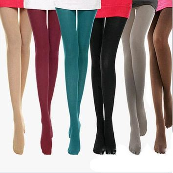 1pcs Big Size Spring Autumn Winter Warm Women Sexy Pantyhose Nylon 140D Velvet Candy Color Seamless lidies long stocking